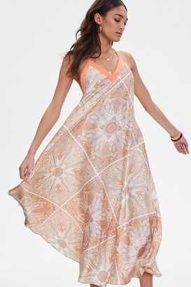 Forever 21 Satin Ornate Print Trapeze Dress