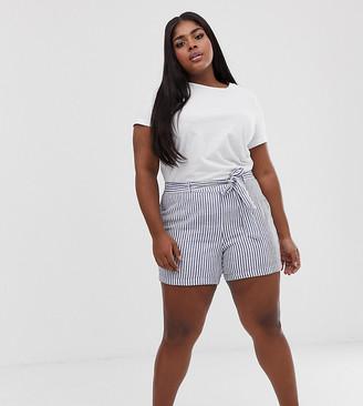 Junarose stripe tie waist shorts