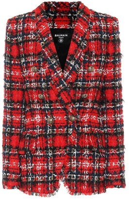 Balmain Tartan wool-blend tweed blazer