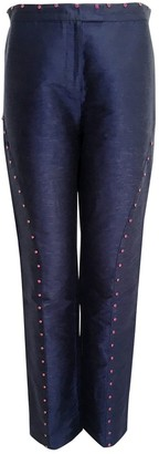 Gianni Versace Blue Cotton Trousers for Women Vintage
