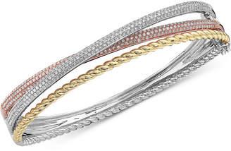 Effy Diamond Tri-Color Bangle Bracelet (1-1/2 ct. t.w.) in 14k Gold, 14k White Gold and 14k Rose Gold