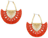 Lucky Brand Gold-Tone Coral Tassel Drop Earrings