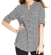 Calvin Klein Women's Striped Roll-Sleeve Shirt