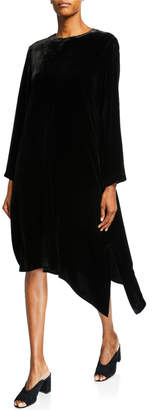 Eileen Fisher Petite Velvet Jewel-Neck Long-Sleeve Asymmetrical Midi Dress