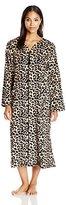 Miss Elaine Women's Leopard Print Long Zip Robe