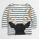 J.Crew Factory Girls' long-sleeve striped antlers keepsake T-shirt