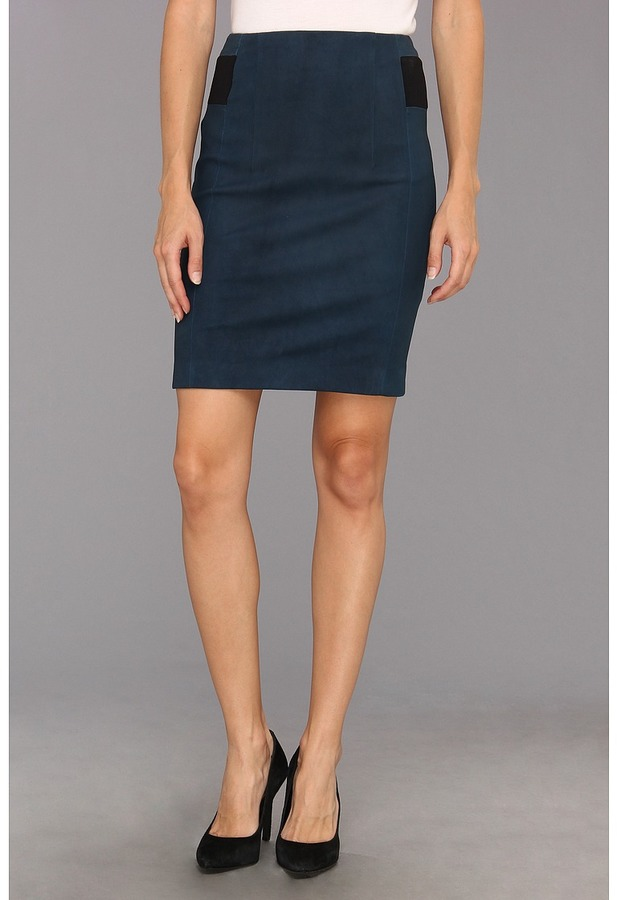 Rebecca Taylor Leather Pencil Skirt (Teal) - Apparel