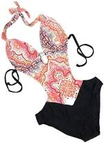 NORAME Womens Fashion Padded One Piece Swimsuit Halter Straps Hollow Monokini Bathing Suit S