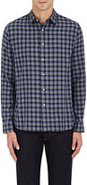 Barneys New York MEN'S CHECKED COTTON SHIRT-LIGHT GREY SIZE XS