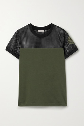 Moncler Appliqued Mesh And Cotton-jersey T-shirt - Army green