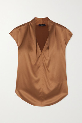 Theory Silk-blend Satin Top - Brown