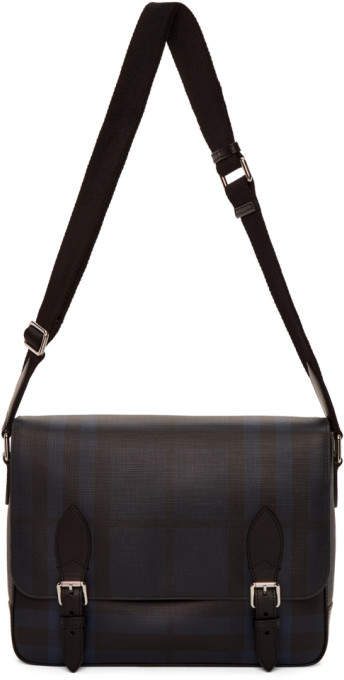 Burberry Navy and Black London Check Hedley Messenger Bag