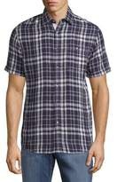Report Collection Linen Casual Plaid Shirt