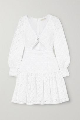 MICHAEL Michael Kors Cutout Corded Lace Mini Dress - White
