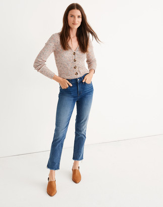 Madewell Petite Stovepipe Jeans in Chancery Wash: Fluffy Hem Edition