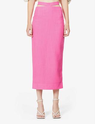 Jacquemus Valerie cut-out high-waist woven midi skirt