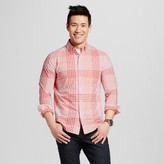 Merona Men's Everyday Plaid Long Sleeve Button Down Shirt Coral