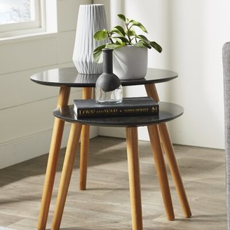 Langley Street Phoebe 2 Piece Nesting Tables Langley Street Table Base Color: Bamboo, Table Top Color: Black