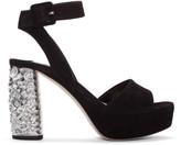 Miu Miu Black Suede & Crystal Sandals