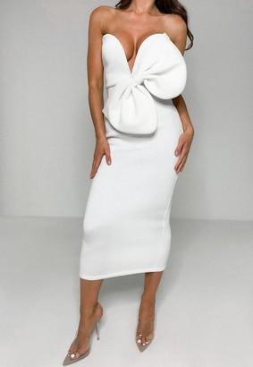 Missguided White Scuba Bow V Bar Midi Dress