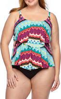 Liz Claiborne Chevron Tankini Swimsuit Top-Plus
