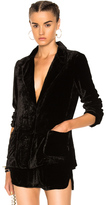 Raquel Allegra Velvet Classic Blazer Jacket in Black.