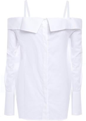 Victoria Victoria Beckham Victoria, Victoria Beckham Cold-shoulder Pinstriped Cotton Shirt