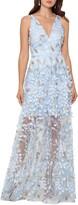 Xscape Evenings 3D Floral V-Neck Gown