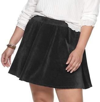 So Juniors' Plus Size SO Corded Velour Skater Skirt