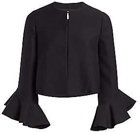 Valentino Women's Short Crepe Ruffle Sleeve Jacket