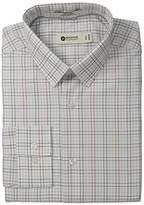 Haggar Men's Multi Color Check Point Collar Fitted Long Sleeve Dress Shirt