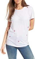 Sundry Women's Cherries Embroidered Boy Tee