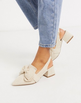 ASOS DESIGN Salsa slingback mid-heels with bow in natural fabrication
