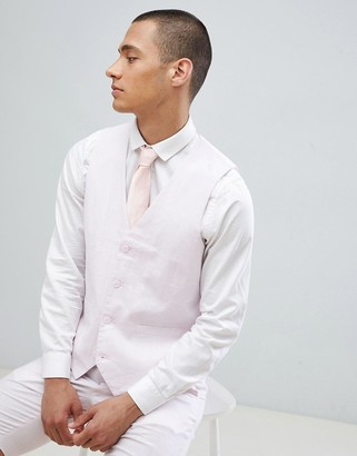 French Connection Wedding Linen Slim Fit Suit vest-Pink