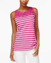 Charter Club Petite Striped Crochet-Detail Tank Top, Only at Macy's