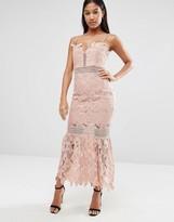 Love Triangle Cami Strap Long Length Midi Lace Dress