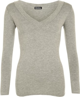 WearAll New Ladies V Neck Stretch Womens Long Sleeve Top Light Grey 8/10