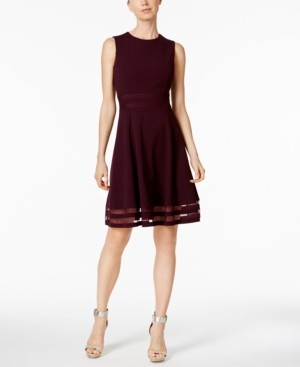 Calvin Klein Illusion-Trim Fit & Flare Dress, Regular & Petite