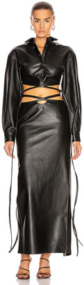 CHRISTOPHER ESBER Leather Cropped Tie Shirt in Black | FWRD