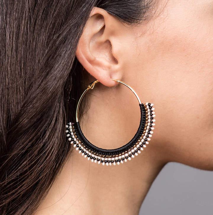 ad75b1ccf0444 Apache Rose London Large Beaded Hoop Earrings
