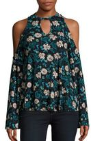 Romeo & Juliet Couture Cold-Shoulder Floral Print Top