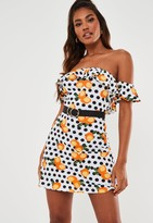 Missguided White Lemon Polka Dot Bardot Frill Skater Dress