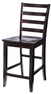 """Ttp Furnish Solid Wood 24"""" Counter Stool (Set of 2) TTP Furnish Frame Color/Seat Color: Cappuccino"""