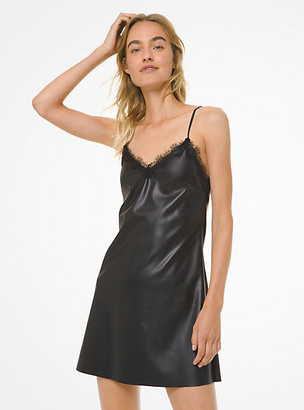 Michael Kors Lace-Trim Faux Leather Slip Dress