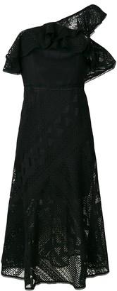 Three floor Futures crochet one-shoulder dress