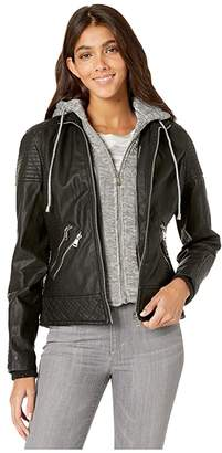 YMI Jeanswear Snobbish Faux Leather Jacket with Detachable Sweatershirt Hood