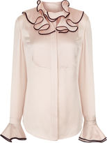 Roksanda Blush Silk Frill Tuvula Shirt