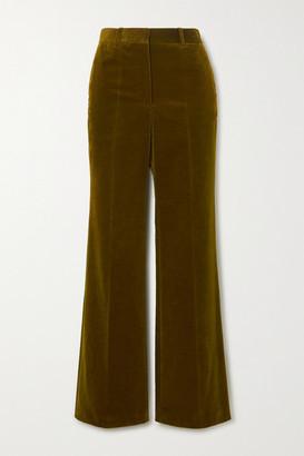 Victoria Beckham Cotton-blend Velvet Wide-leg Pants - Army green