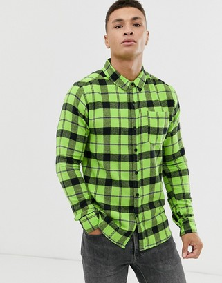 Soul Star check shirt in lime green