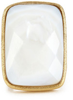Rivka Friedman 18K Gold Clad Opal Crystal Doublet Bold Rectangle Open Shank Ring